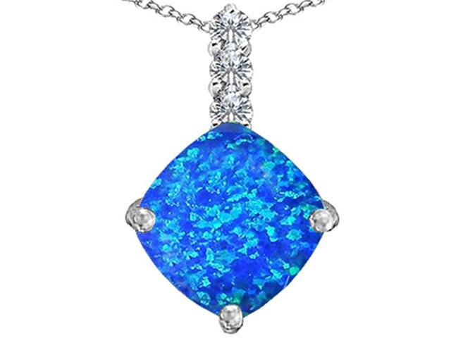 Star K Large 12mm Cushion Cut Simulated Blue Opal Pendant in Sterling Silver