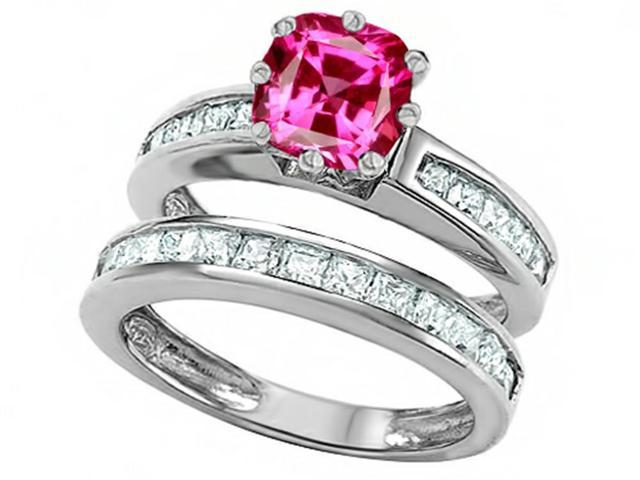 Star K Cushion Cut 7mm Created Pink Sapphire Wedding Set in Sterling Silver Size 7