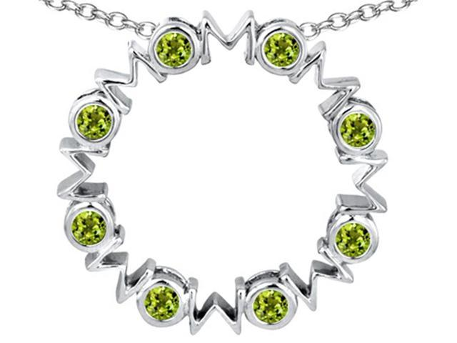 Star K Large MOM Circle Mothers pendant with Round Simulated Peridot in Sterling Silver