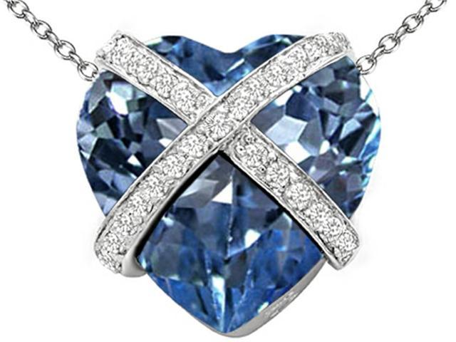 Star K Large Prisoner of Love Heart Pendant with 15mm Heart Shape Simulated Aquamarine in Sterling Silver
