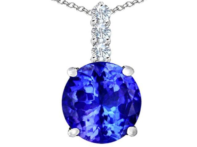 Star K Large 12mm Round Simulated Tanzanite Pendant Necklace in Sterling Silver