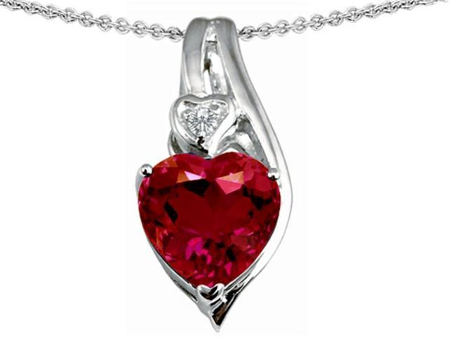 Star K Large 10mm Heart Shape Created Ruby Heart Pendant Necklace in Sterling Silver