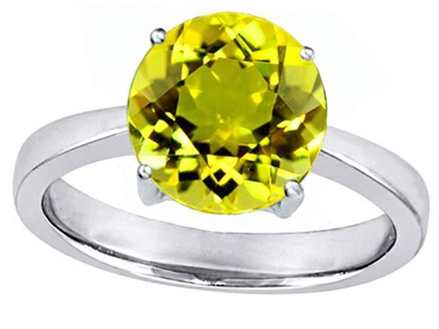 Star K Large Solitaire Big Stone Ring with 10mm Round Simulated Yellow Sapphire in Sterling Silver Size 6