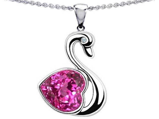 Star K Large Love Swan Pendant with 8mm Heart Shape Created Pink Sapphire in Sterling Silver