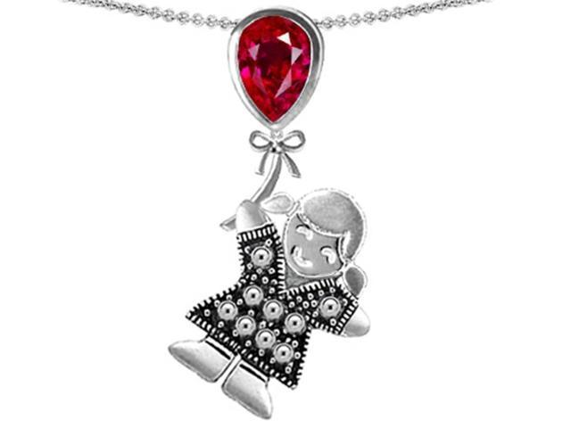 Star K Girl Holding a Balloon Mother July Birth Month Pear Shape Created Ruby Pendant in Sterling Silver