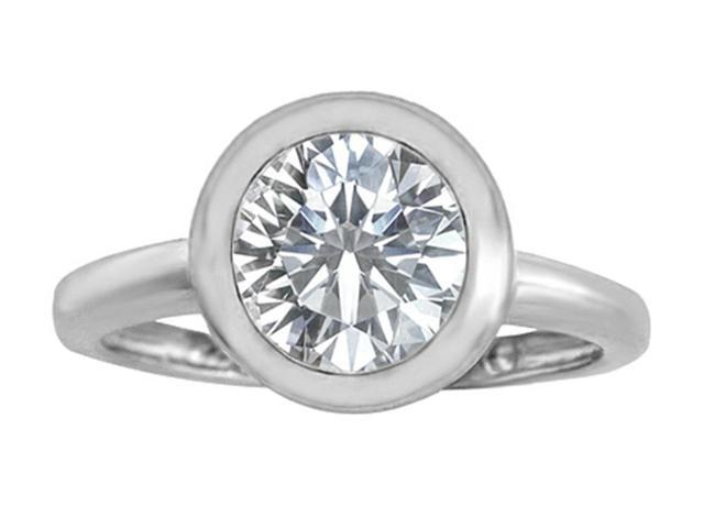 Star K 8mm Round Solitaire Ring with Genuine White Topaz in Sterling Silver Size 6