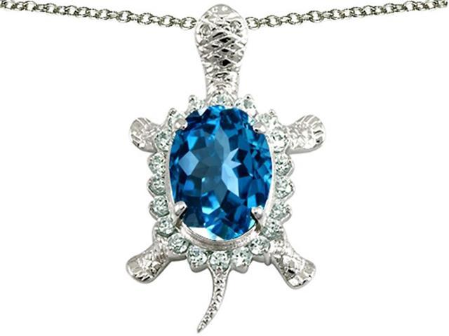 Star K Good Luck Turtle Pendant with Oval 12x10mm Simulated Blue Topaz in Sterling Silver