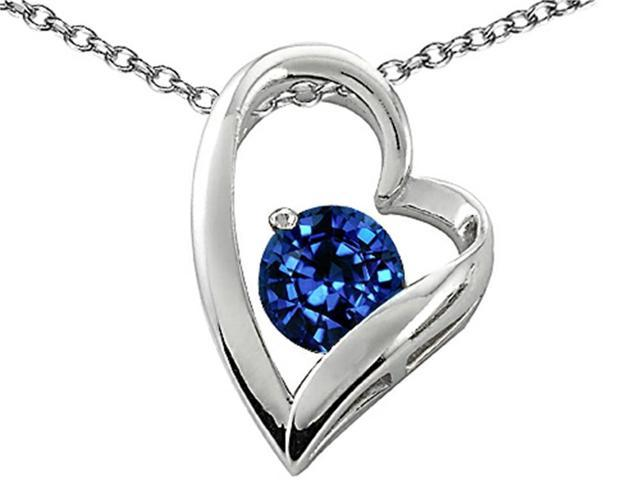 Star K 7mm Round Created Sapphire Heart Shape Pendant in Sterling Silver