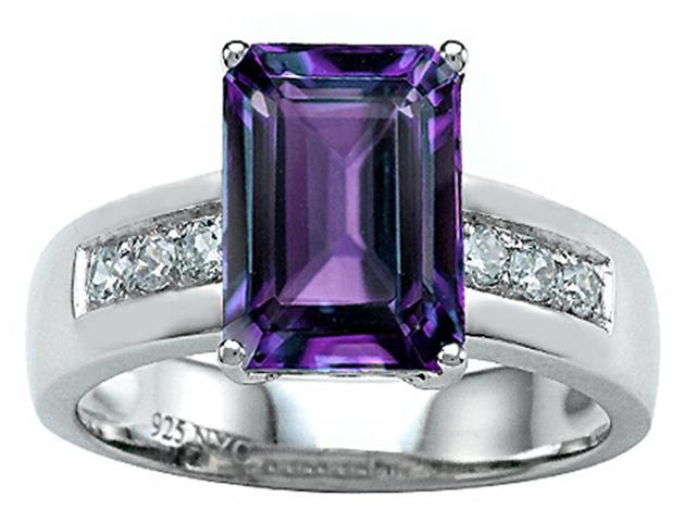 Star K Classic Octagon Emerald Cut 9x7 Ring with Simulated Alexandrite in Sterling Silver Size 7