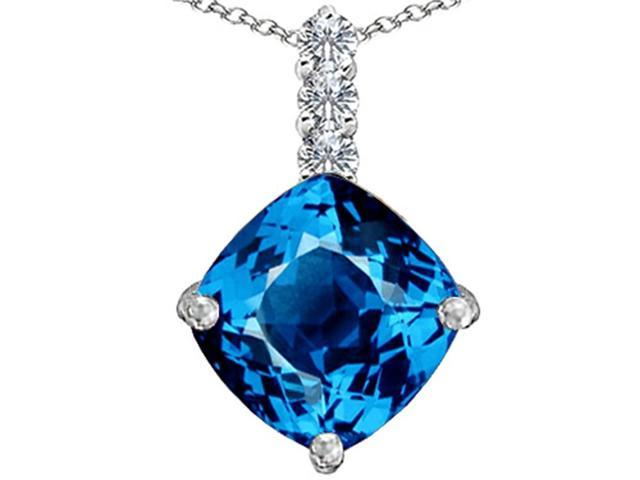 Star K Large 12mm Cushion Cut Simulated Blue Topaz Pendant in Sterling Silver
