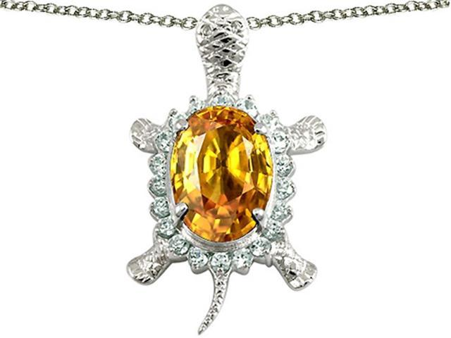 Star K Good Luck Turtle Pendant with Oval 12x10mm Simulated Citrine in Sterling Silver