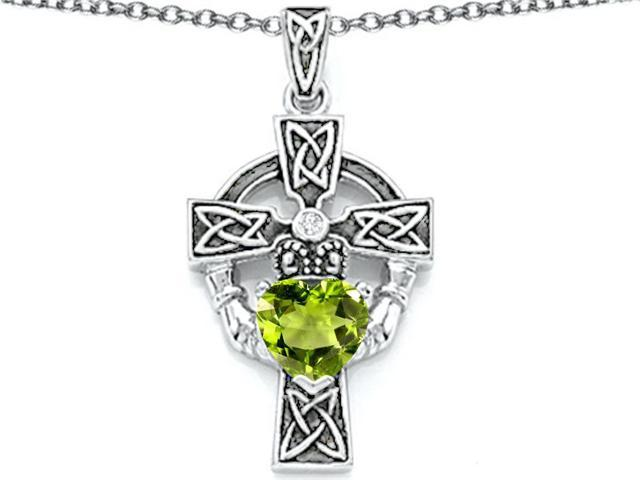Star K Claddagh Cross Pendant Necklace with 7mm Heart Shape Simulated Peridot and Cubic Zirconia in Sterling Silver