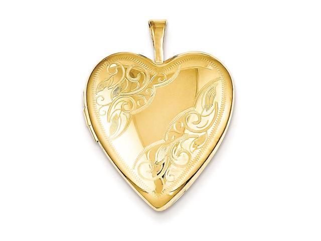 1/20 Gold Filled 20mm Side Swirled Heart Locket Necklace Chain Included