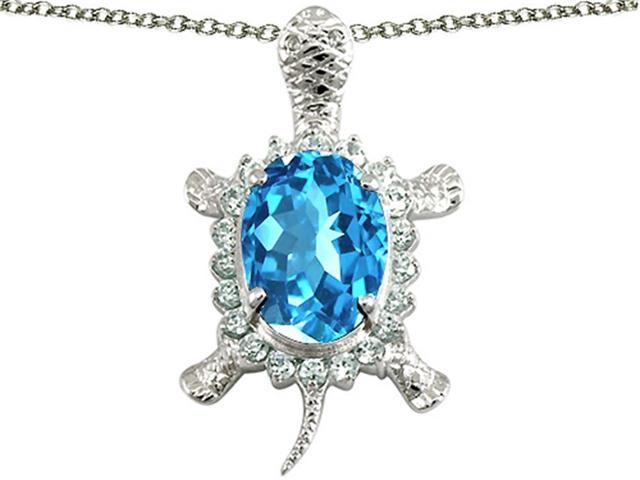 Star K Good Luck Turtle Pendant with Oval 12x10mm Simulated Aquamarine in Sterling Silver