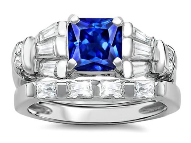 Star K 6mm Square Cut Created Sapphire Wedding Set in Sterling Silver Size 6