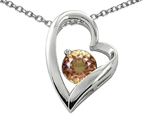 Star K 7mm Round Simulated Imperial Yellow Topaz Heart Pendant in Sterling Silver