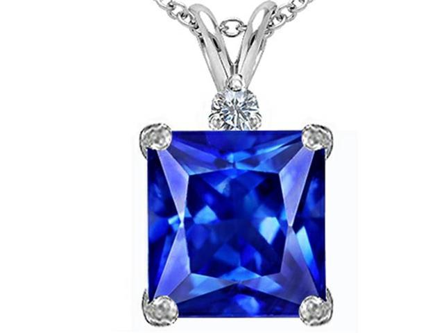 Star K Large 12mm Square Cut Simulated Tanzanite Pendant Necklace in Sterling Silver