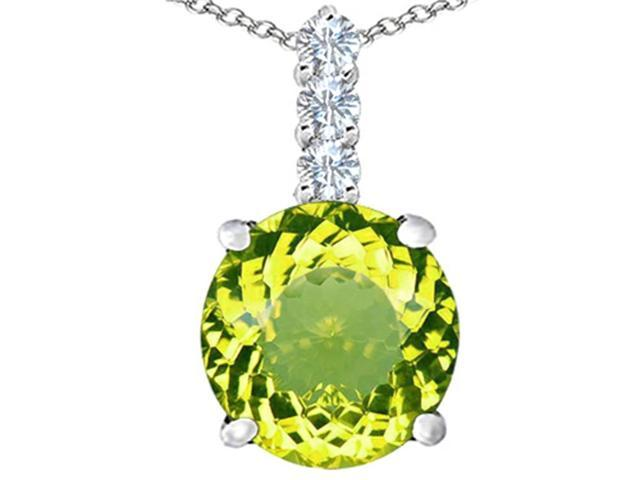 Star K Large 12mm Round Simulated Peridot Pendant Necklace in Sterling Silver