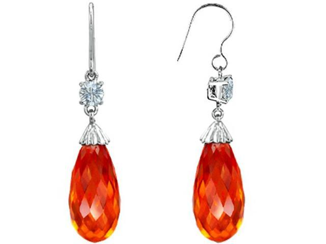 Star K Briolette Drop Cut Simulated Mexican Fire Opal Hanging Hook Chandelier Earrings in Sterling Silver