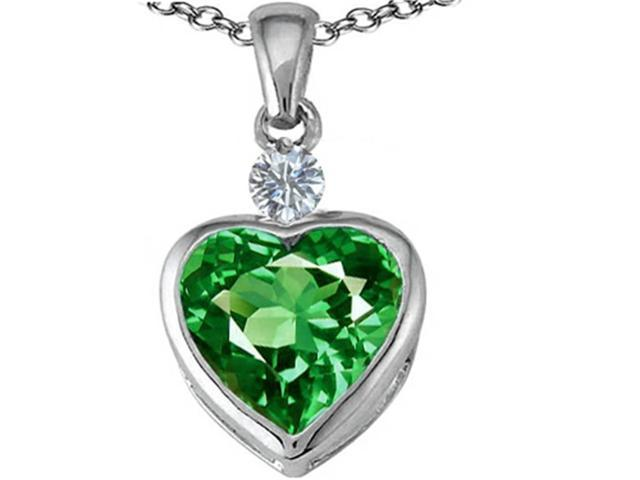 Star K 10mm Heart Shape Simulated Emerald Heart Pendant in Sterling Silver