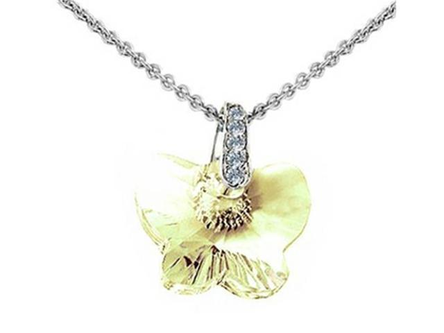 Sterling Silver Yellow Crystal Butterfly Pendant Necklace made with Swarovski Elements on 18 Inch Chain