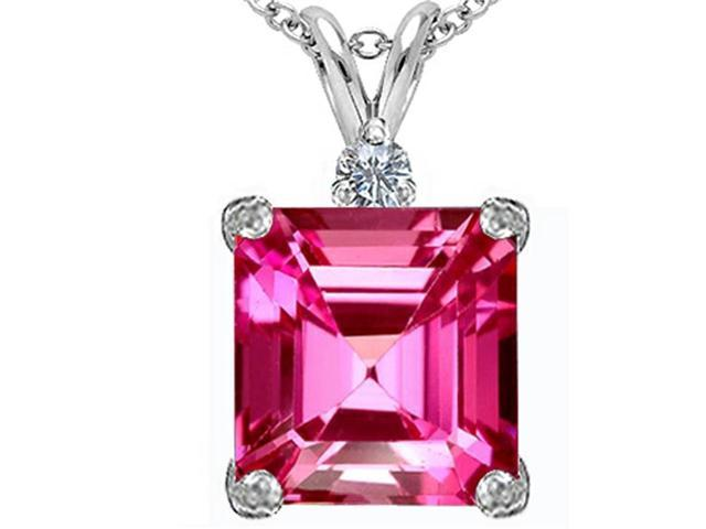 Star K Large 12mm Square Cut Created Pink Sapphire Pendant in Sterling Silver