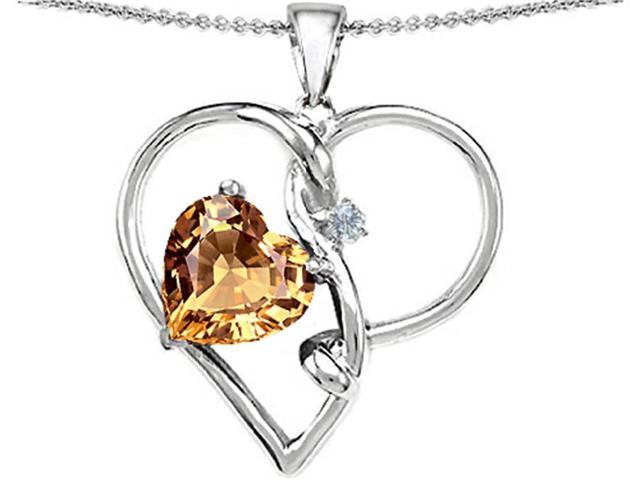 Star K Large 10mm Heart Shaped Simulated Imperial Yellow Topaz Knotted Heart Pendant Necklace in Sterling Silver