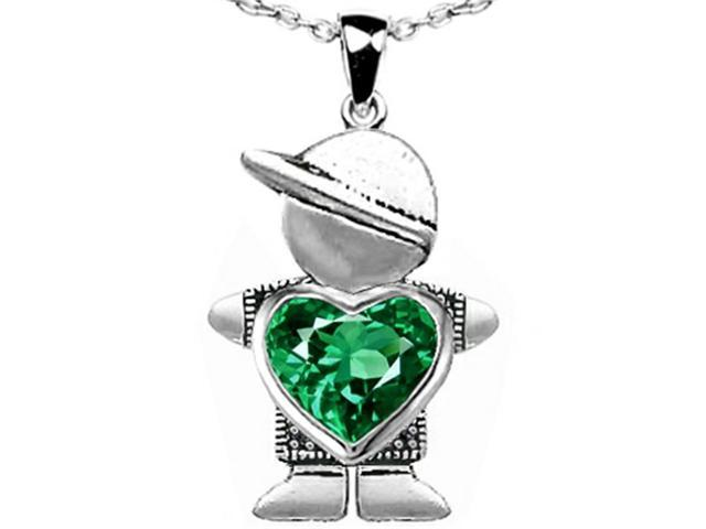 Star K Boy Holding 8mm Mother Heart May Birth Month Pendant with Simulated Emerald in Sterling Silver