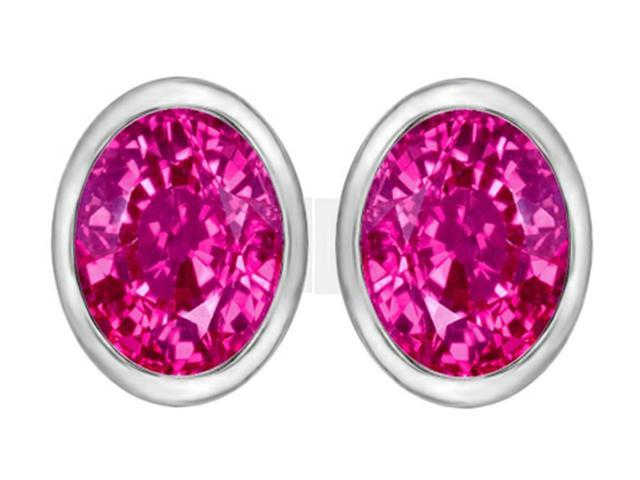 Star K 8x6mm Oval Created Pink Sapphire Earrings Studs in Sterling Silver