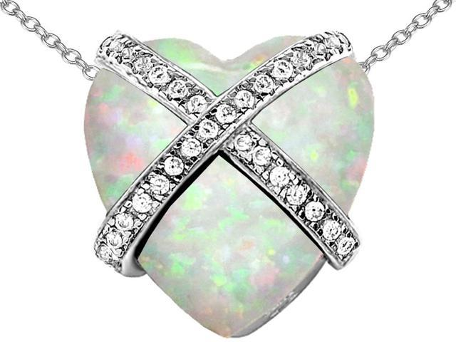 Star K Large Prisoner of Love Heart Pendant Necklace with Heart Shape Created Opal in Sterling Silver