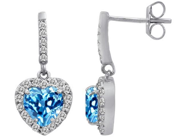 Star K 6mm Heart Shape Simulated Blue Topaz Dangling Heart Earrings in Sterling Silver