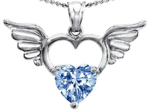 Star K Wings Of Love Birth Month Pendant Necklace with 8mm Heart Shape Simulated Aquamarine in Sterling Silver