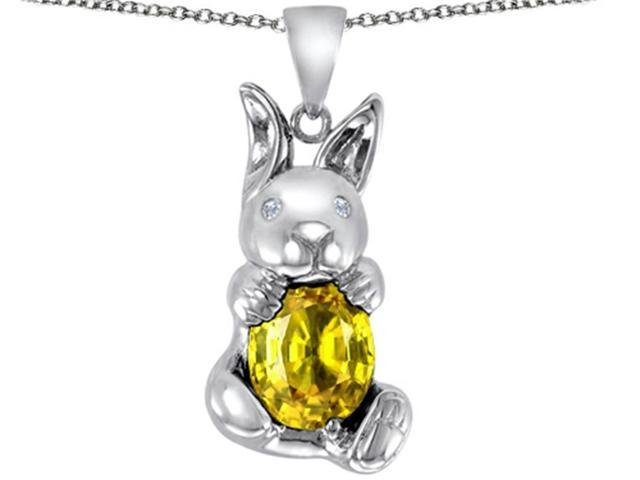 Star K Love Bunny Pendant with Simulated Citrine Oval 10x8mm in Sterling Silver