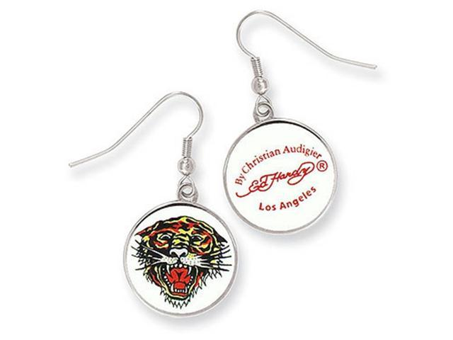 Ed Hardy Roaring Tiger Painted Earrings in Stainless Steel
