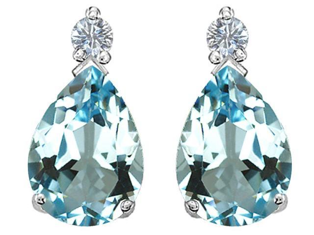 Star K Pear Shape 8x6 mm Simulated Aquamarine Earrings Studs in Sterling Silver