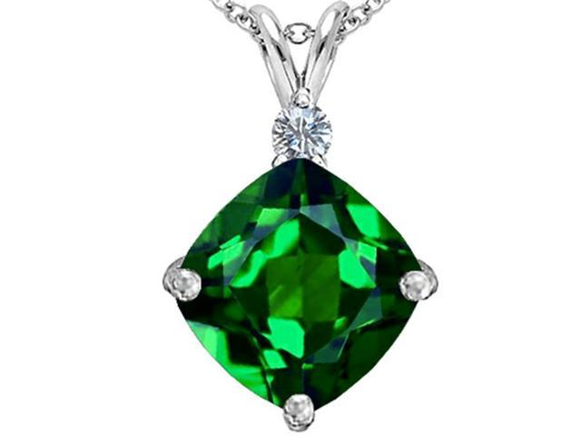 Star K Large 12mm Cushion Cut Simulated Emerald Pendant in Sterling Silver