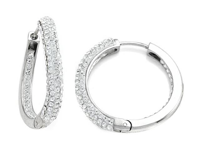 Round Hoop Earrings with Half White Crystals and Half Polished Finish in Sterling Silver