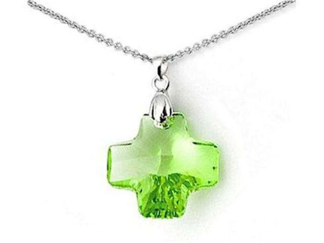 Sterling Silver Green Color Crystal Cross Pendant Necklace made with Swarovski Elements on 18 Inch Chain