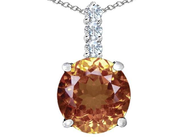 Star K Large 12mm Round Simulated Imperial Yellow Topaz Pendant Necklace in Sterling Silver