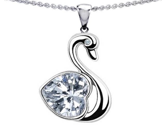 Star K Love Swan Pendant with 8mm Heart Shape White Topaz in Sterling Silver