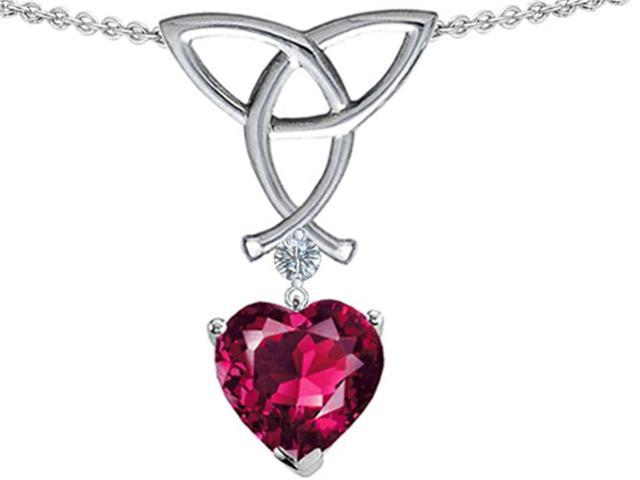 Celtic Love by Kelly Love Knot Pendant with Heart Shape 8mm Created Ruby in Sterling Silver