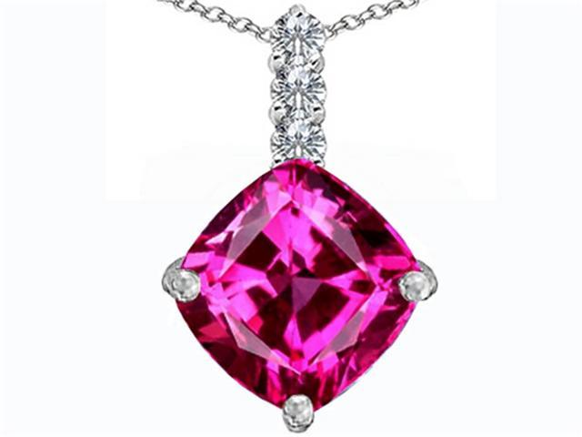 Star K Large 12mm Cushion Cut Created Pink Sapphire Pendant Necklace in Sterling Silver