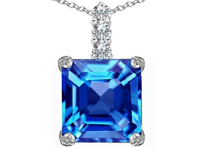 Star K Large 12mm Square Cut Simulated Blue Topaz Pendant in Sterling Silver