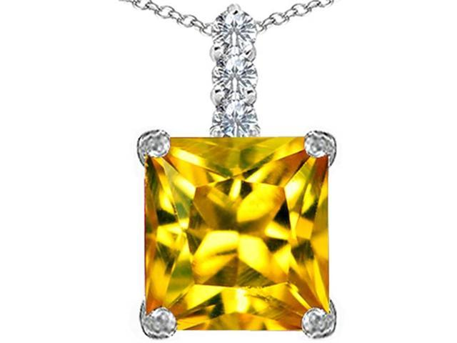 Star K Large 12mm Square Cut Simulated Citrine Pendant in Sterling Silver