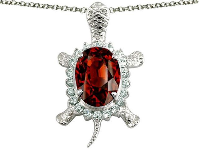 Star K Good Luck Turtle Pendant with Oval 12x10mm Simulated Garnet in Sterling Silver