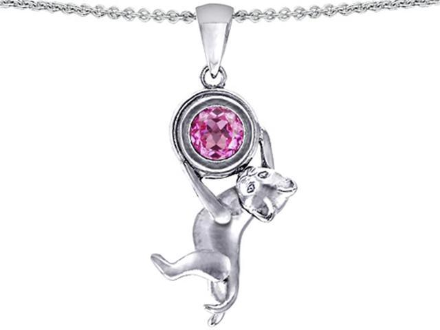 Star K Cat Lover Pendant with September Birth Month Round 7mm Created Pink Sapphire in Sterling Silver