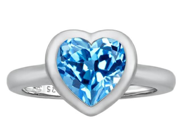 Star K 8mm Heart Shape Solitaire Ring with Simulated Blue Topaz in Sterling Silver Size 5