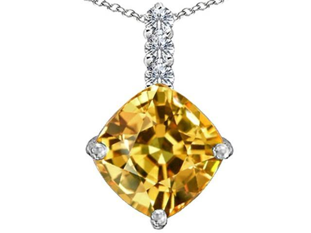 Star K Large 12mm Cushion Cut Simulated Imperial Yellow Topaz Pendant in Sterling Silver