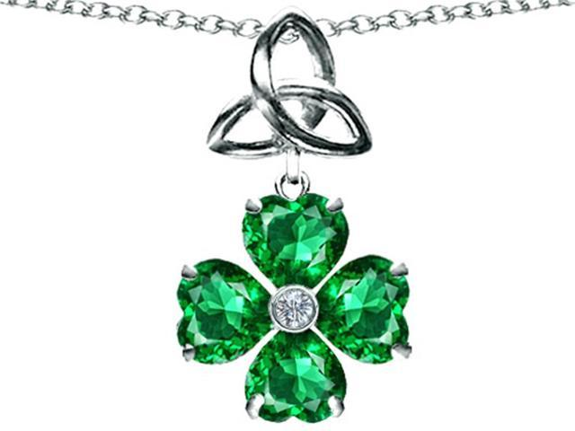 Lucky Shamrock with Celtic Knot Made with Heart 6mm Simulated Emerald Celtic Love by Kelly in Sterling Silver