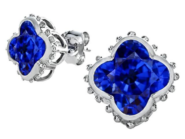 Star K Clover Earrings Studs with 8mm Clover Cut Created Sapphire in Sterling Silver